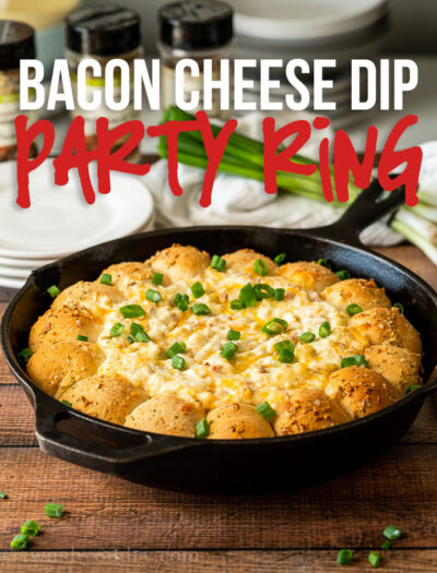 This hot and bubbly Bacon Cheese Dip Party Ring is a hit during the holidays and during football season!