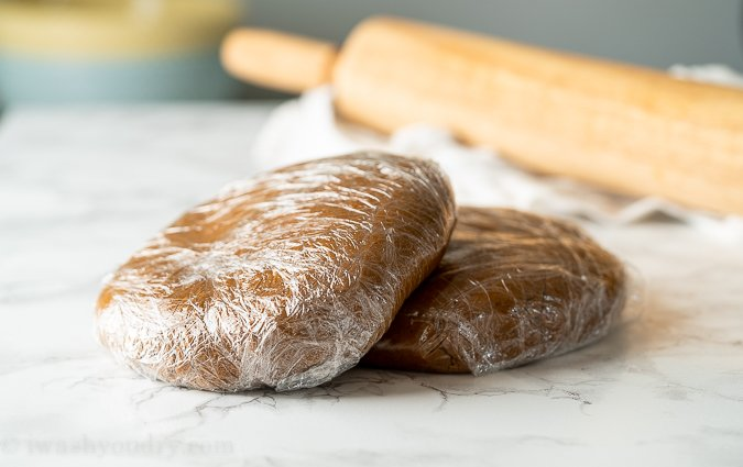 Wrap gingerbread dough in plastic wrap and refrigerate for a few hours before rolling.
