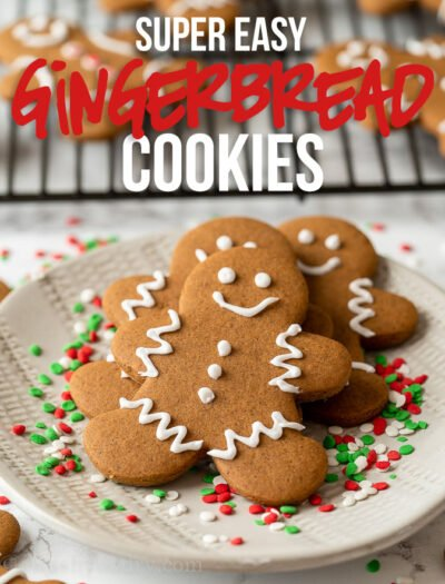 This super easy Gingerbread Cookies recipe is perfectly spiced and comes together quickly! It's easily one of our favorite Christmas cookies to make during the holidays.