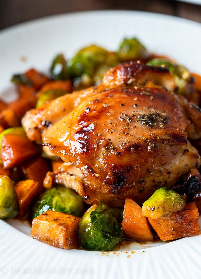 Honey Glazed Sweet Potatoes and Brussels Sprouts