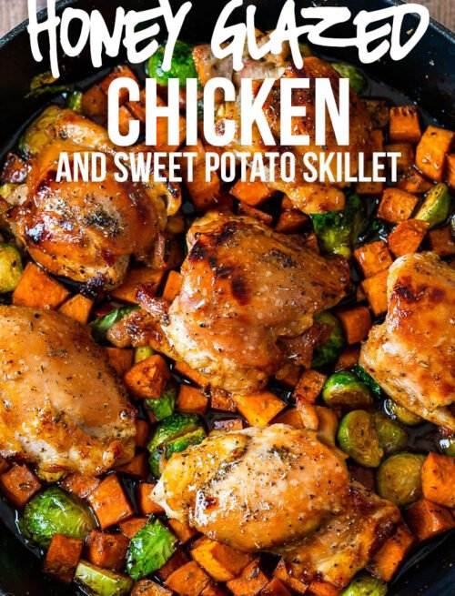 This super easy Honey Glazed Chicken Skillet is filled with juicy chicken thighs, tender sweet potatoes and Brussels sprouts in a finger-licking-good honey butter sauce. It's an all-in-one dinner that's sure to please!