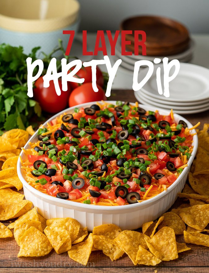 7 Layer Dip Recipe in casserole dish