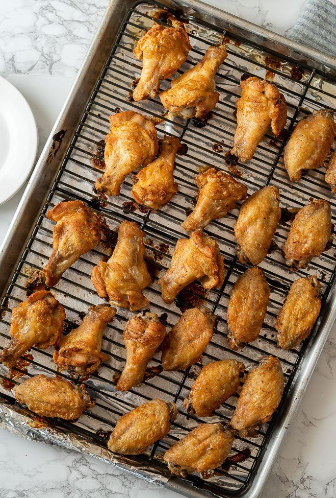 Crispy Baked Chicken Wings on baking sheet
