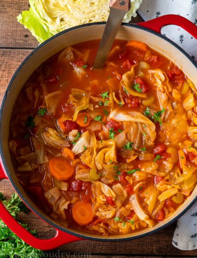 This quick and easy Cabbage Soup Recipe is filled with nutritious veggies like fresh cabbage, carrots and celery in a simple, yet flavorful broth.