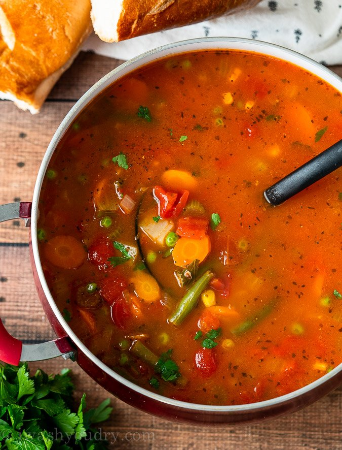 Delicious and easy Vegetable Soup can also be made in the slow cooker!