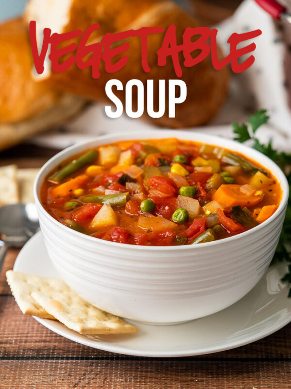 This warm and comforting Vegetable Soup Recipe is filled with tender veggies and chunks of potato in a perfectly seasoned broth.