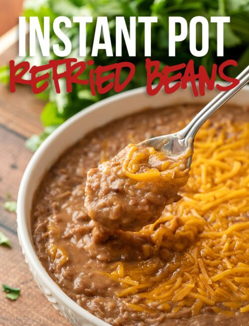 This Instant Pot Refried Beans Recipe starts with dried pinto beans and ends up with silky smooth and flavorful authentic refried beans.