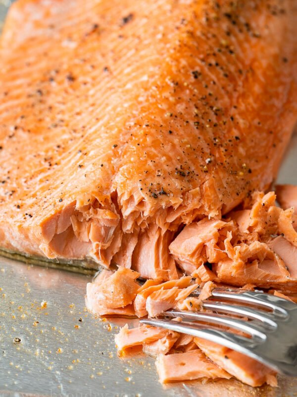 Perfectly cooked baked salmon that's flaky and tender