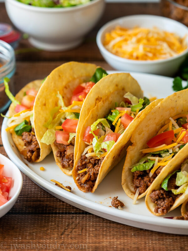 This Ground Beef Tacos Recipe is quick and easy with the most flavorful taco meat out there!