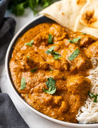 This authentic recipe for butter chicken is a quick and easy weeknight dinner. Best served over rice with naan bread on the side.