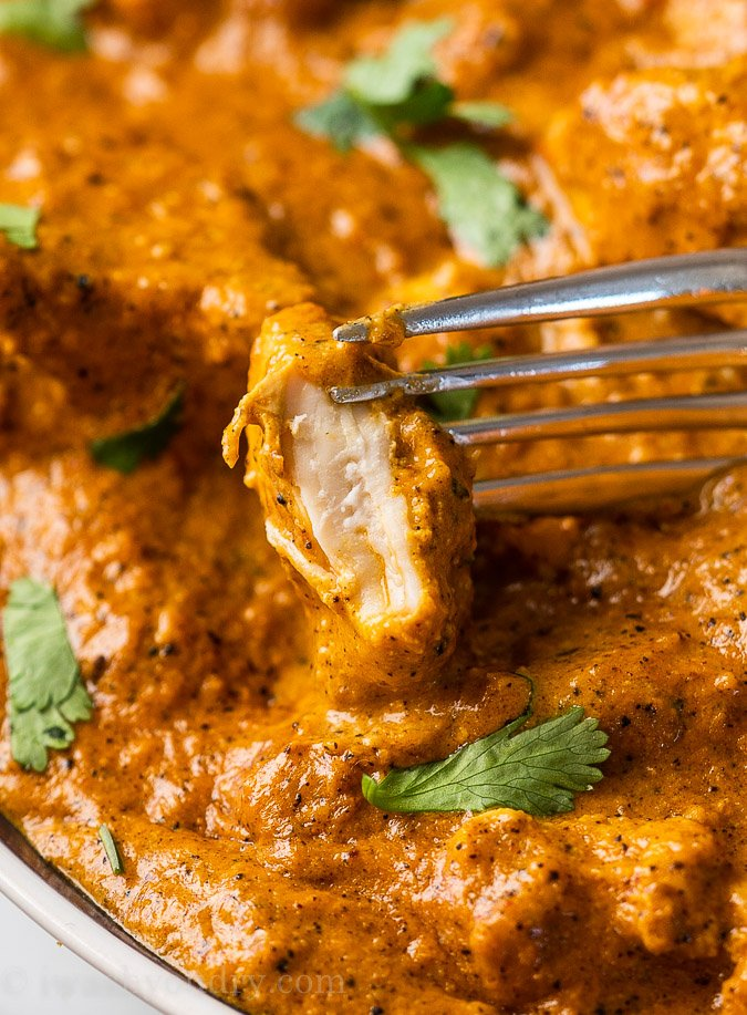 Juicy and tender Butter Chicken in a silky smooth and rich sauce.