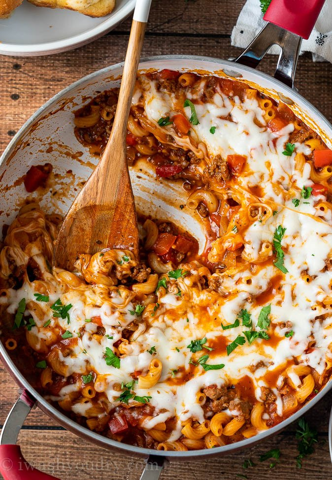 Zesty Italian Beef and Pasta Skillet all made in just ONE PAN for an easy weeknight dinner.