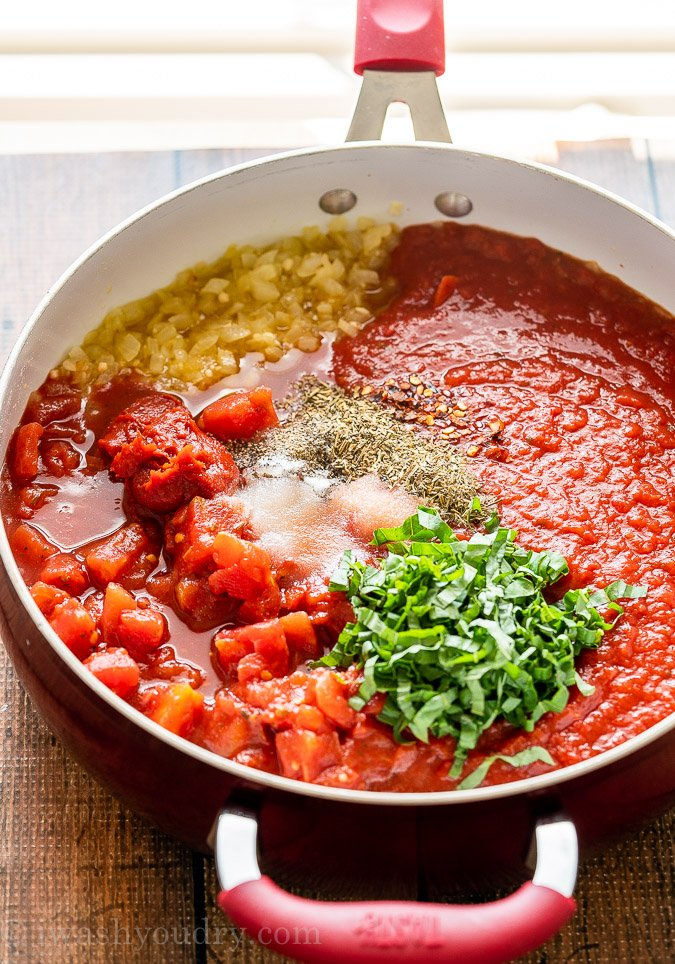 Marinara Sauce is made with simple ingredients like tomatoes, onion, garlic and fresh basil.