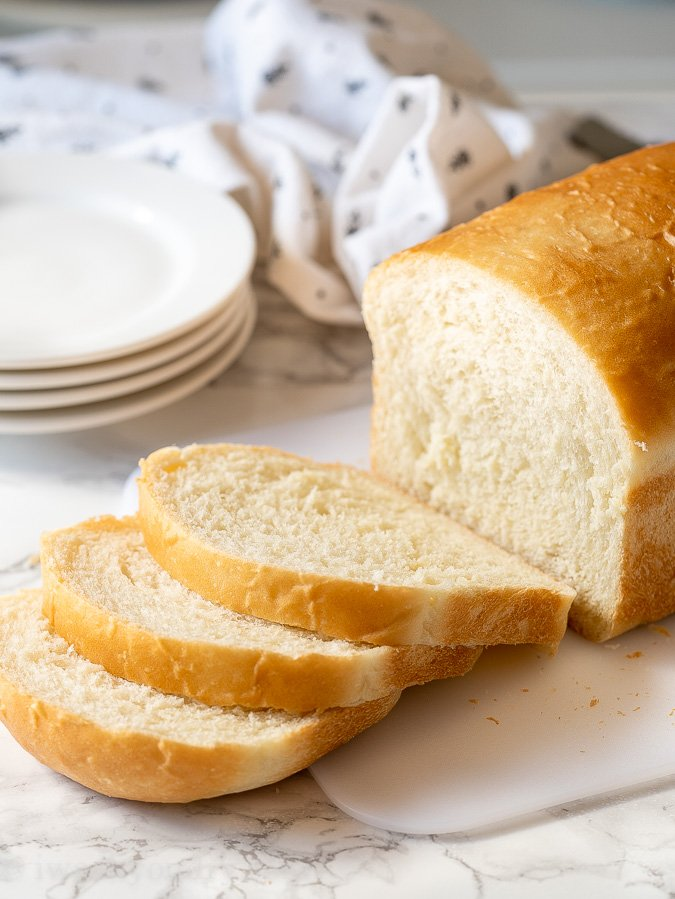 The best part about homemade bread is slicing it and eating!