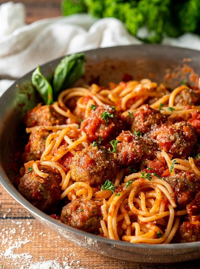 Skillet full of spaghetti and meatballs
