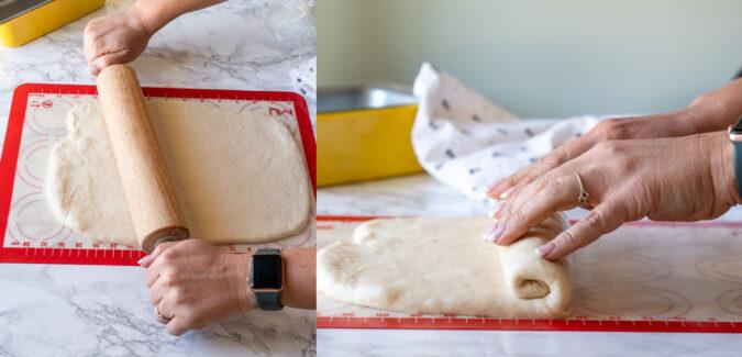 Rolling sandwich bread into loaves