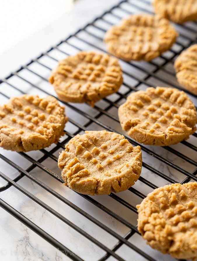 Soft and chewy Peanut Butter Cookies on a cooling rack.