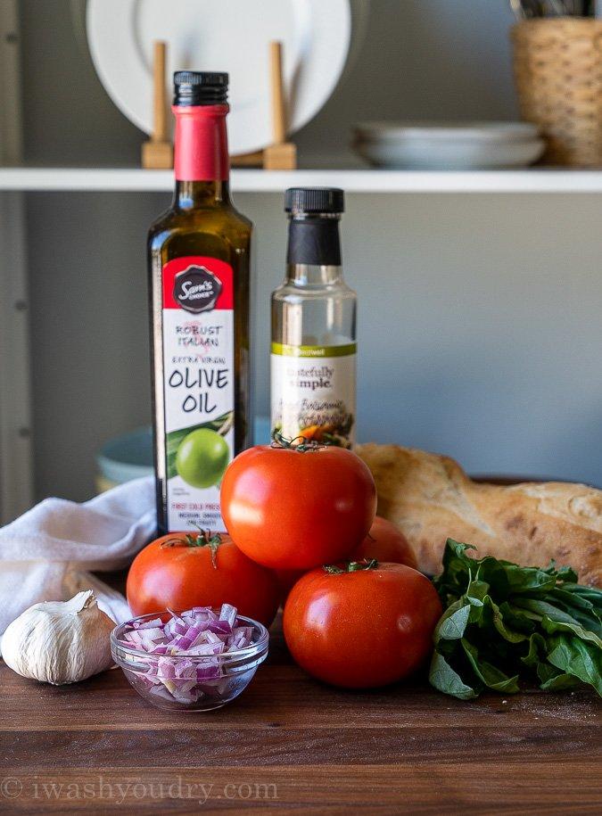 Ingredients needed to make fresh bruschetta recipe