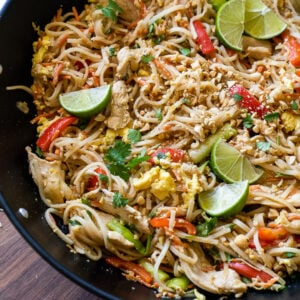 Simple Pad Thai Recipe in a large wok