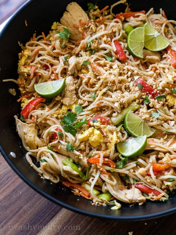 Simple Pad Thai Recipe in a large wok
