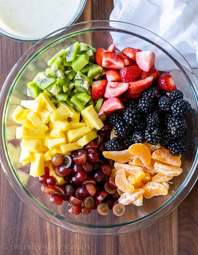 Rainbow fruit salad in a bowl