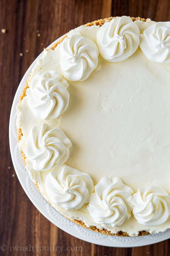 No Bake Cheesecake on cake stand