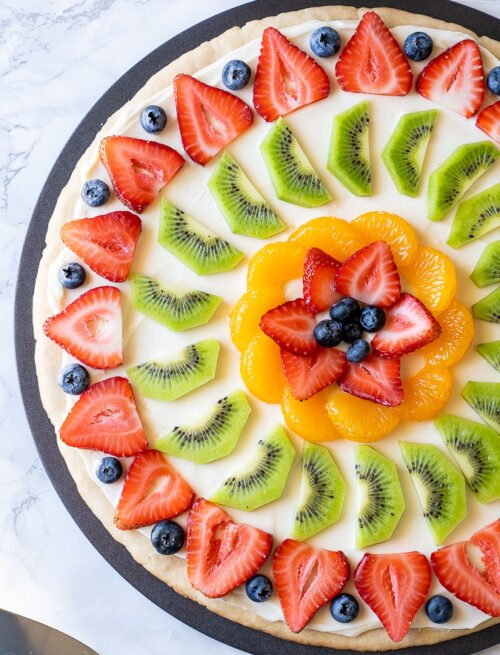 Fresh Fruit Pizza with sugar cookie crust