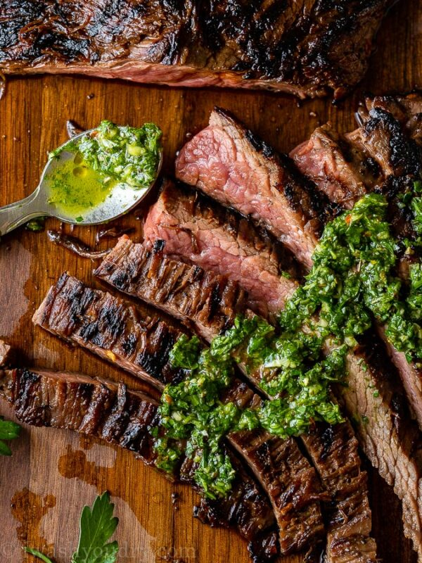 Skirt Steak with green chimichurri sauce on top