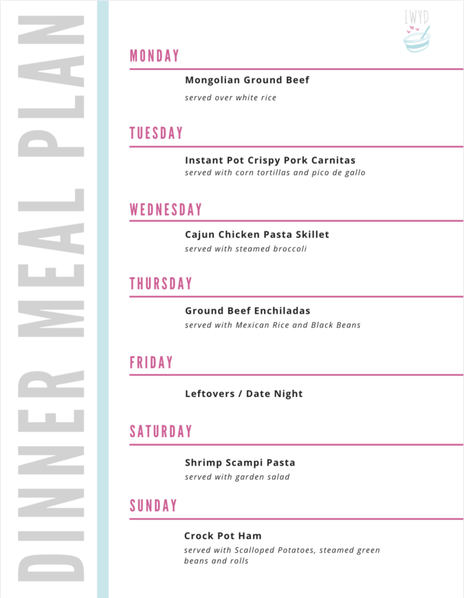 example of a weekly meal plan