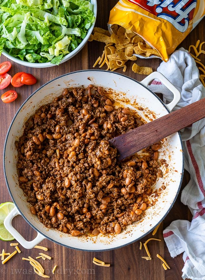 Taco salad ground beef with beans in a skillet