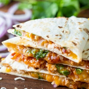 BBQ Chicken Quesadilla cut into wedges.