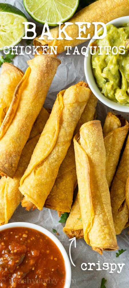 Easy Baked Chicken Taquitos that are crispy and flavorful!