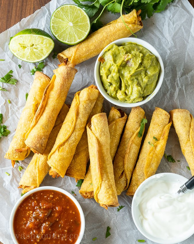 Crispy Baked Chicken Taquitos with several types