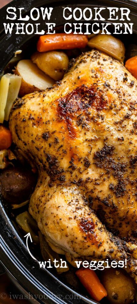 Slow Cooker Whole Chicken with crispy skin!