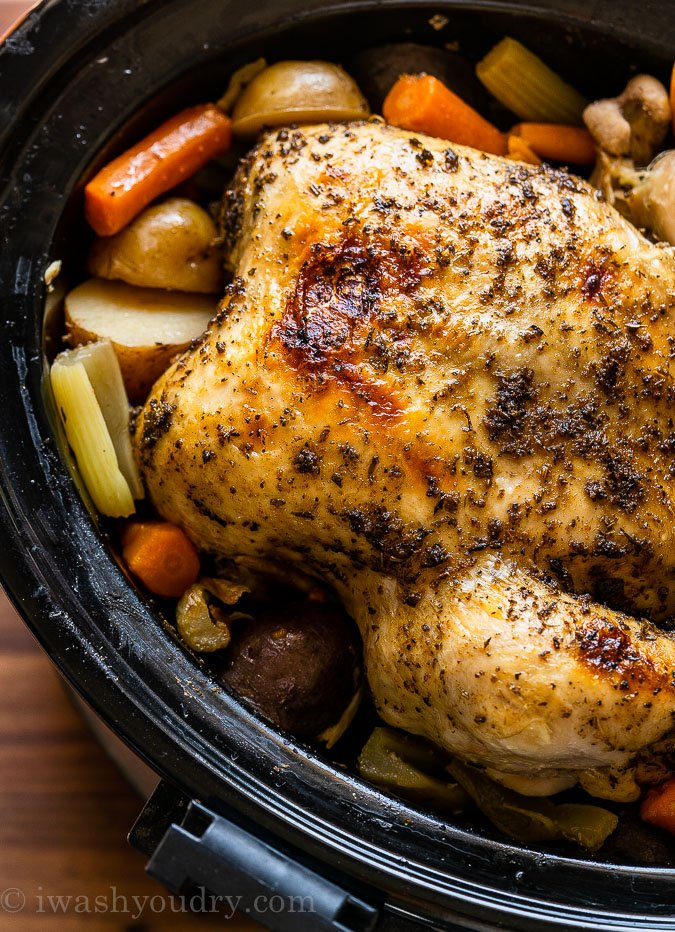 Juicy rotisserie style chicken made in the slow cooker!