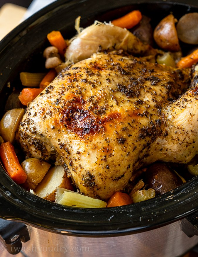 Juicy rotisserie style whole chicken made in the slow cooker