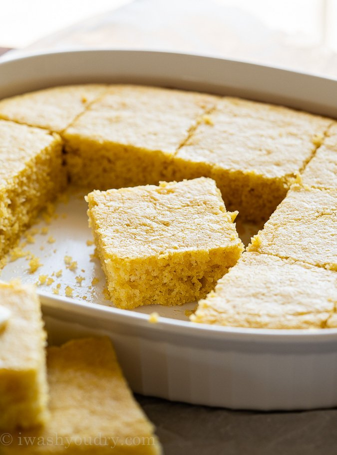 Sweet cornbread in pan