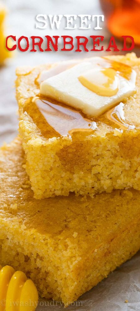 Sweet cornbread with honey and butter
