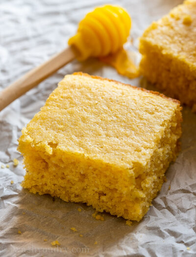 Sweet cornbread slice with honey