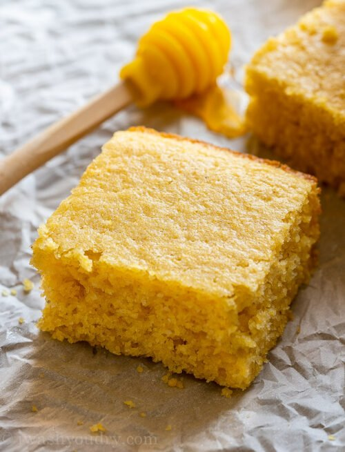 Sweet cornbread slice with honey