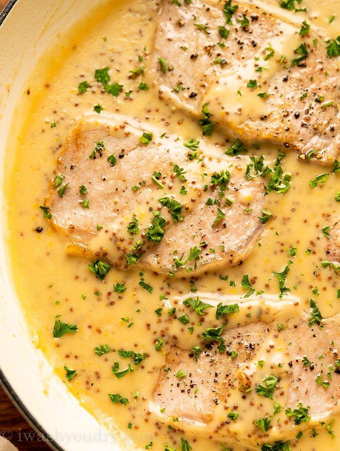 Pork chops in honey dijon sauce