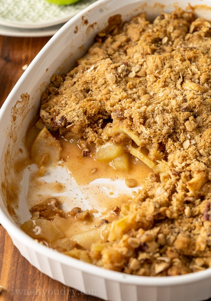 Apple Crisp in white pan