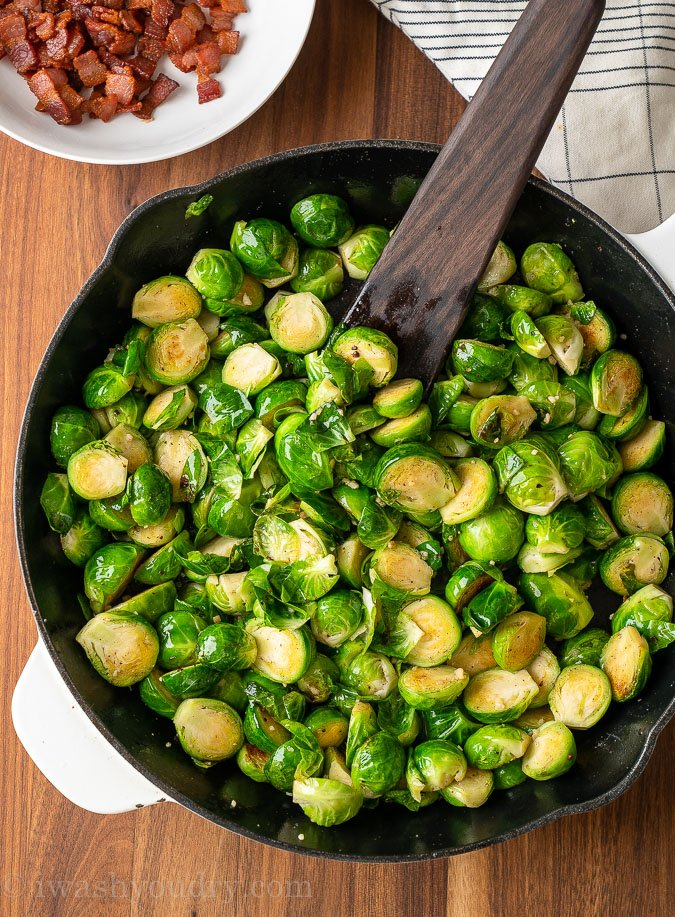 brussels sprouts in a pan
