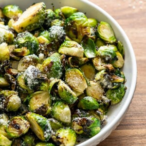 Bowl of air fryer brussels sprouts