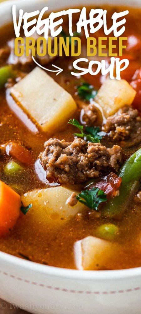 Close up image vegetable ground beef soup in bowl with potatoes