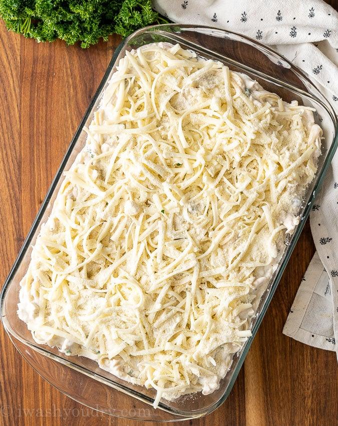 pasta tetrazzini with mozzarella cheese on cutting board