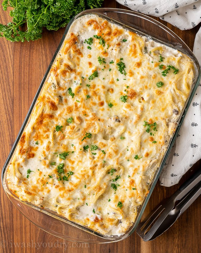 casserole dish with creamy chicken tetrazzini recipe