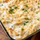 bubbly chicken tetrazzini in casserole dish