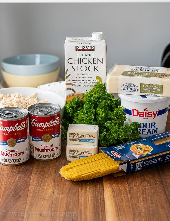 ingredients for chicken tetrazzini on wood table