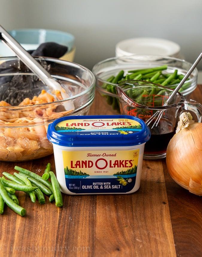 stir fry ingredients on cutting board